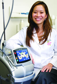 Dr. Christing Do and her Waterlase MD laser system